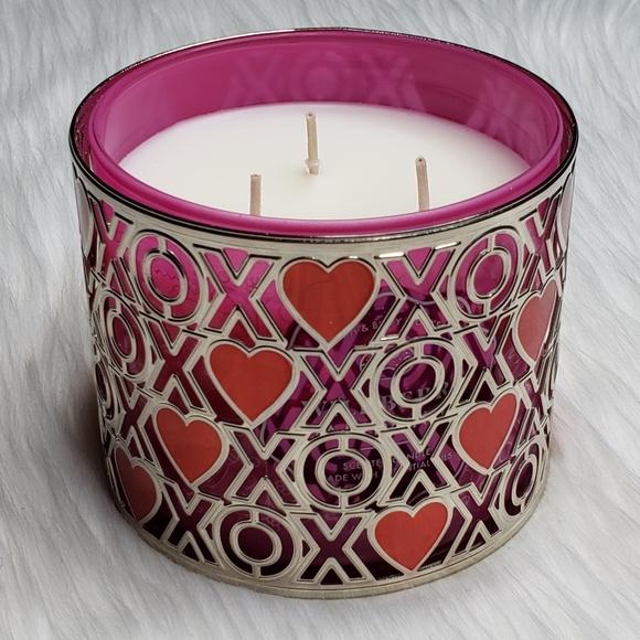 BBW Heart XOXO Silver 3-Wick Candle Holder EUC